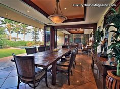 Luxurious Single Level Home #house #dining #room #hawaii #homes #estate #table #backyard #luxury #homes #interior #design #decor