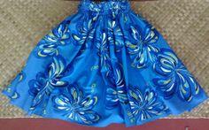 Bright blue hula pa'u hula skirt bold and bright by SewMeHawaii, $45.00