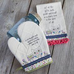 Owl Mother Prairie Stitch Kitchen Set