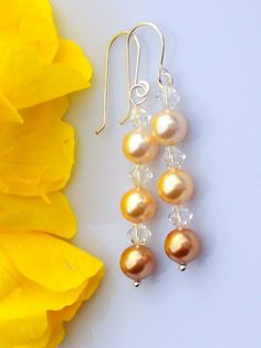Earrings , Swarovski, Crystal,  Pearl, Yellow, Gold, Dangle, Drop, Bride, Bridesmaids,Wedding, Prom, Grad,  Mother of the Bride
