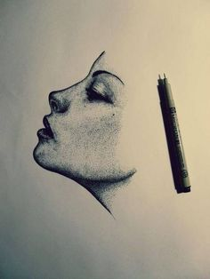 Love this so much! | Drawings | Sketching | Stipple Shading | Micron Pens | Faces | Shading | Art