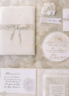white wedding stationery