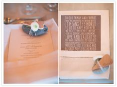 Table setting menus and printed cards - love the idea of saying thank you whilst the guests are still there with you