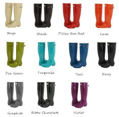 Hunter Rain Boots..... Good for Katie at college a pair in every color?