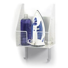 Spectrum Wall Mount Single Basket with Ironing Board Holder, White $26.45