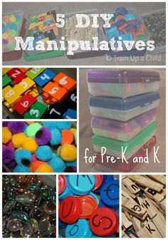 5 DIY Manipulatives for Preschool and Kindergarten.  These are simple to make and do not take much time.  The possibilities for hands on learning are endless! And like the organizing tip too! Let me know if I need to pick up any of this for u