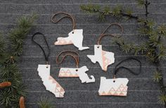 Show some state pride with an ornament adorned with copper leaf.
