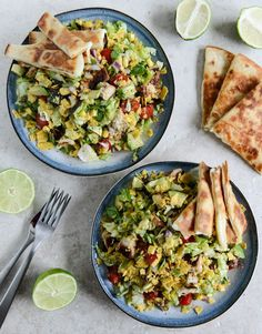 chopped chicken taco salads with cheese quesadilla strips – via how sweet it is
