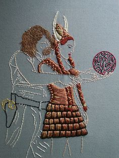 "Amazing hand embroidery of the Dude and Maude during the ""Gutterballs"" dream sequence in the movie The Big Lebowski."