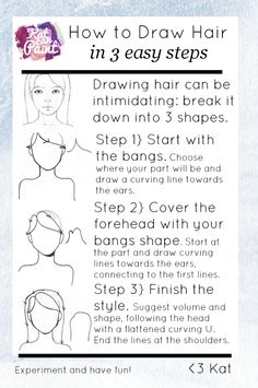 How to Draw Hair in 3 easy steps -- If you have tutorial requests don't be shy! Comment on the pin with your request and tag me, @katcanpaint so I can add them to my list. @katcanpaint via www.katcanpaint.com