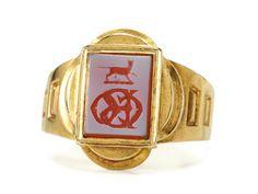 Hand Carved Agate Tudor Revival Art Deco Ring