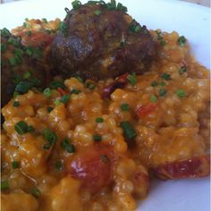 Chef Dinner Special - Curry meatballs cous cous cherry tomatoes