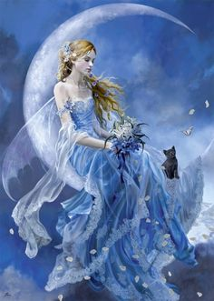 Upon the Moon...#fairy #faerie #fantasy #moon #black-cat #art #blue