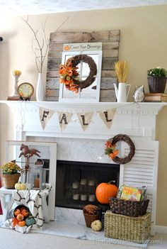 Fireplace - Fall Decor Idea | The Frugal Homemaker. I want my fireplace to look like this!