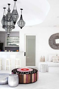 modern global design with the beautiful poufs, lanterns, mirror, Moroccan wedding blanket cushions