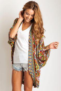 cover up, jean shorts, kimono, sweater, fashion