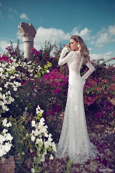 julie vino 2014 bridal long sleeve wedding dress lace back illusion