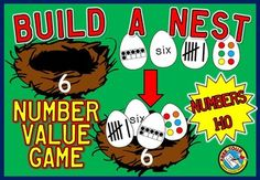 25% OFF FOR A VERY LIMITED TIME!   BUILD A NEST - NUMBER VALUE GAME - NUMBERS 1 TO 10.  This game provides children with lots of practice by counting spots on eggs, identifying tally marks and ten frame representations and recognizing numerals and number names.