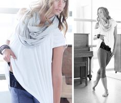 Shelley Wrap in Heather Cement, Cielo Tee in White, and Dana Crop in Heather Damsun/Black. #summer2014 #karmawear #clothingformovement #yogafashion #VeiledDuality  See more: http://www.karmawear.com/pages/veiled-duality