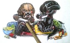 Alien vs Predator by Bianca Roman-Stumpff, 5X7 mounted print, signed on a white border on the bottom (Pls disregard the pen. ;))