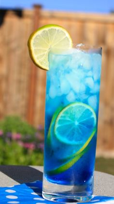 Sex in the Driveway (1 oz. blue Curacao, 1 oz. peach schnapps, 2 oz. citrus vodka. Fill with Sprite)