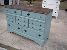 love the color combos on this refinished dresser