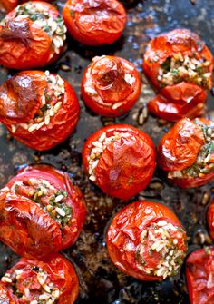 tomatoes stuffed w/ herb risotto. Take a cup of leftover risotto, season it, stir in an egg, and bake inside  two or three tomatoes.