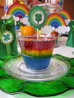 Rainbow jello at a St. Patrick's Day Party #stpatricksday #partyjello