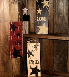 Faith Family Love Hanging Wood Sign with Stars-Wooden Sign,Hanging Wood Sign,Family Sign,Friends Sign,Love Sign,Primitive Sign,Primitive Sig...