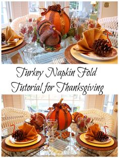 Turkey Napkin Fold for Thanksgiving by Between Naps on the Porch
