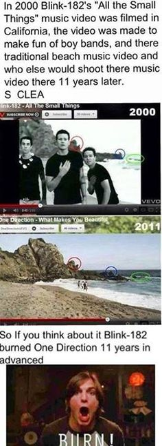 blink182, blink 182, laugh, funni, one direction, humor, music videos, burn, thing