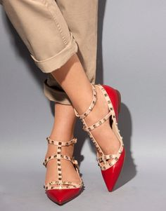 Shoe Love. Shoes. Valentino. Red. Patent. Gold. Studs.