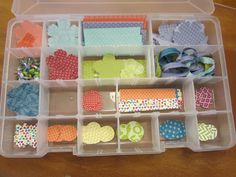 """""""scraps"""" of designer papers.  They are a lot more useful when punched into shapes and organized!  :) design paper"""