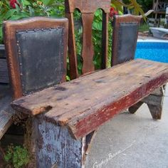 Love this!  I need some benches in the garden and have some old chairs,,,