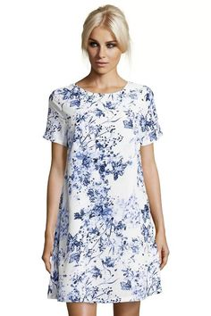 White Blue Floral Print Short Sleeve Casual Dress