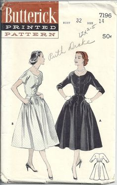 1950s Dress Fitted Bodice Sweetheart Neckline Full by RoseCorners, $22.00 McCalls 7196