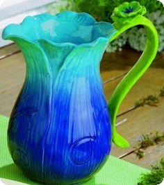 Blue & Green Flower Pitcher