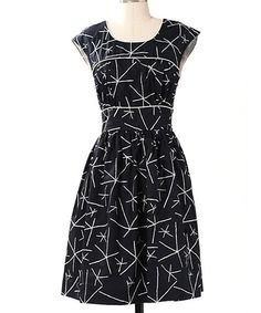 Take a look at this Navy Fine Focus Cap-Sleeve Dress by Down East Basics on #zulily today!