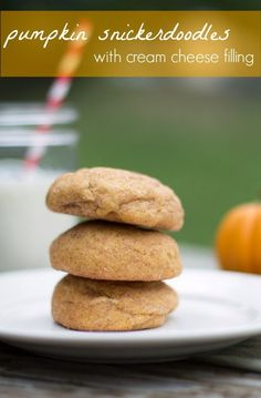 Pumpkin snickerdoodles with cream cheese filling. Literally the most moist cookies I have ever made. Melt in your mouth cookies!!