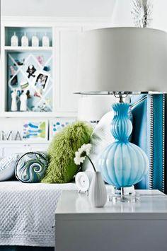 Suzie: Martensen Jones Interiors - Fun girl's bedroom with blue headboard with nailhead trim, ...