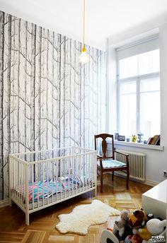 brainstorming wallpaper ideas for my future nephews room! tree wallpaper in boy's nursery