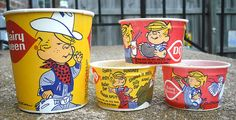 1980's Dairy Queen Dennis the Menace Ice Cream Wax Cups