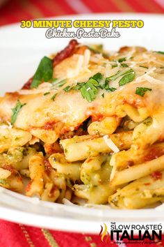 Cheesy Pesto Chicken Pasta Bake from theslowroateditalian.com  #pasta #chicken
