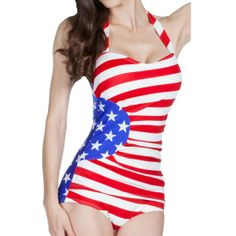 This super flattering one-piece pairs a red and white striped lightly-ruched sheath with glorious blue print with bold white stars, creating a stunningly patriotic swimsuit that *will* turn heads! #InkedShop #America #AmericanFlag #swimsuit #Flag #StarsAndStripes #Merica