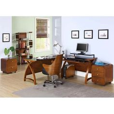 Curve Walnut Veneer Executive Office Chair JF401