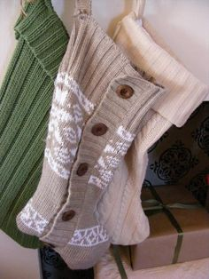 DIY:: Christmas stockings made from old sweaters. Gorgeous  So Easy !