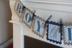 Navy Grey Chevron Baby Shower Boy Oh Boy by DreamPartyPaperie, $24.00