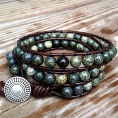 Forest - brown leather wrap bracelet green mix earthy gemstone beads