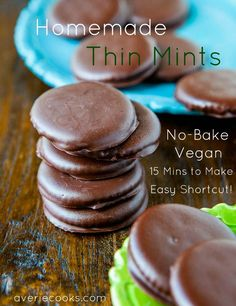 Homemade Thin Mints. No-Bake, Vegan, ridiculously easy, make in 15 mins. You'll be tempted to eat a whole (homemade) tube! Recipe at averiecooks.com