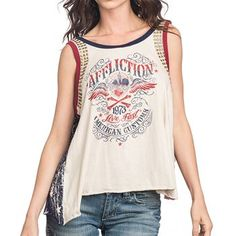 Affliction Women's Corazon Stars and Stripes Graphic Tank